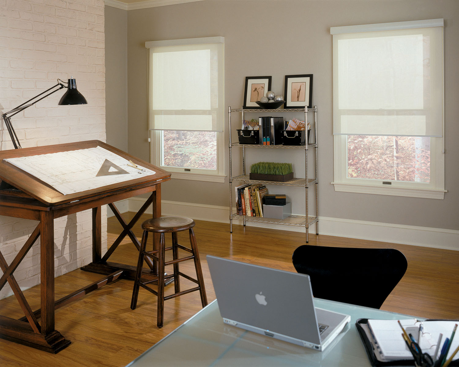 Update your home office with light filtering roller shades at Blinds Chalet
