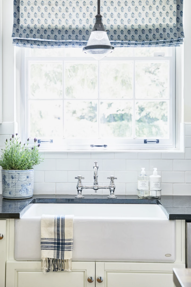Lexi westergard design encanto project update, roman shades in kitchen window