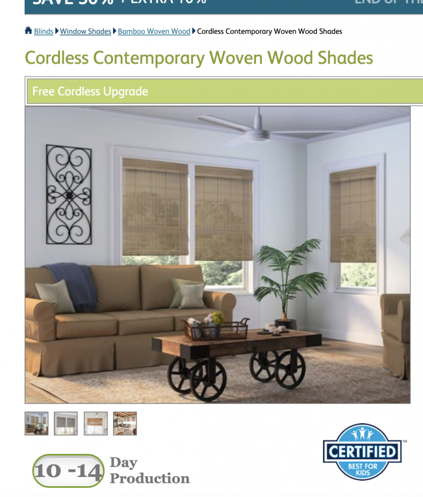popular bamboo shade features - Production Times for custom blinds are listed on each product page.