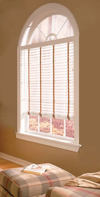 arch top faux wood blinds