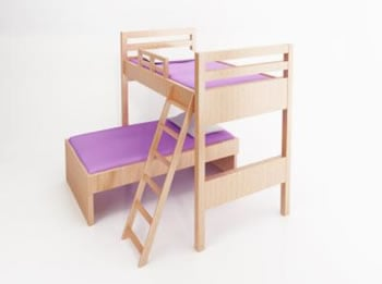 Childrens bunk bed with purple bedding