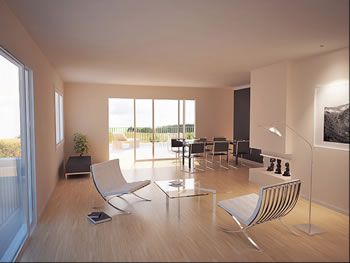 Open Living Room With Modern White Furniture