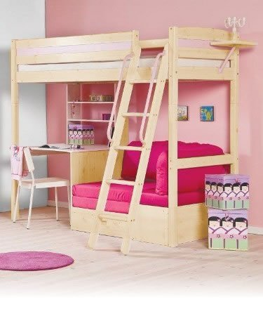 Childs bed set pink bunk bed with desk