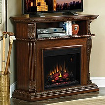 A look at electric fireplace entertainment centers. The luxury and look they offer. Electric fireplace safety and placement.
