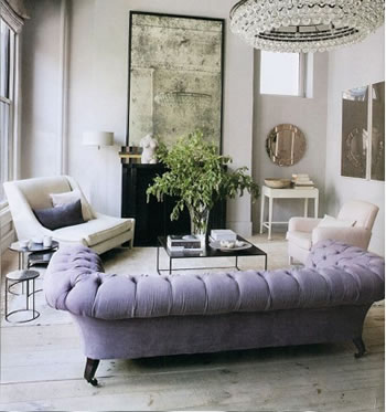 white room purple couch