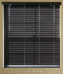 Conventional faux wood blinds