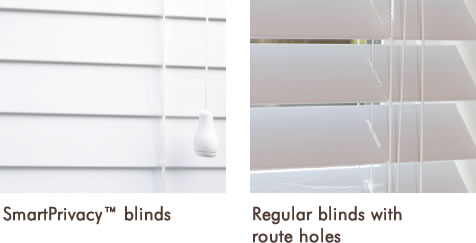 Smart privacy faux wood blinds