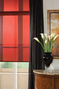 red roller shades
