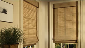 Free edge binding on woven wood shades