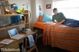 Students should consider window treatments in their dorm rooms that will lessen glare on their computers.