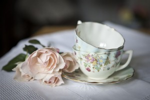 Vintage china can be included in decorative vignettes similar to those created by designer Alli Michelle.