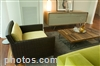 Mix traditional and contemporary elements with faux wood blinds