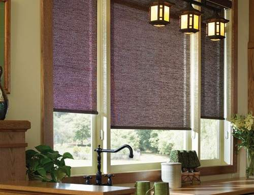 Red Woven Wood Roller Shades