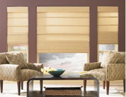 Brown Textured Linen Roman Shades