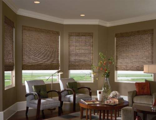 Tan Woven Wood Shades