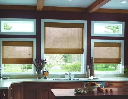 Tan Premier Woven Wood Shades