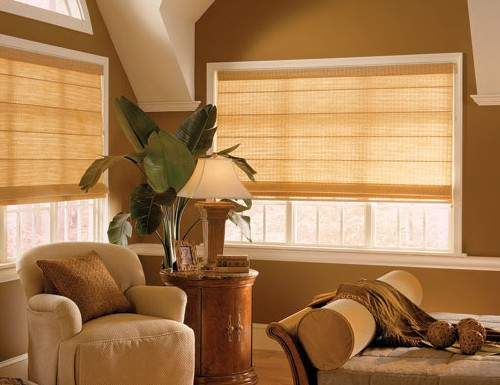 Tan Woven Wood Roman Shades