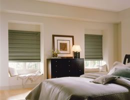 Tan Satin Roman Shades