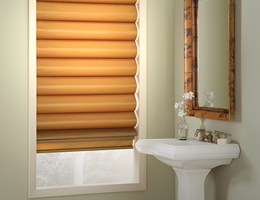 Brown Lumina Textured Linen Roman Shades
