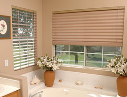 Tan Horizontal Fabric Shades - Solid Colors