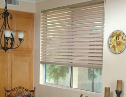 Tan Horizontal Fabric Shades - Print Colors