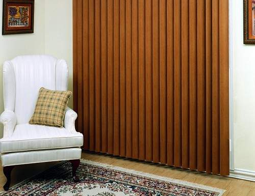 Tan Aspen Faux Wood Vertical Blinds