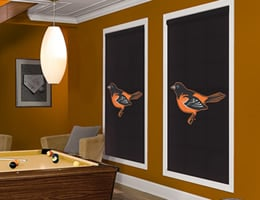 White Baltimore Orioles Roller Shades