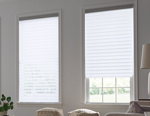 Brown Light Filter Horizontal Sheer Shades - 3 inch Vanes