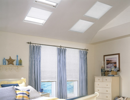 White Pleated Light Filtering Skylight Shades
