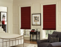 Red Lumina Silk Roman Shades