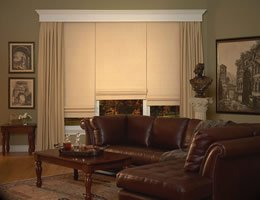 Tan Lumina Blackout Roman Shades