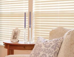 Cream Privacy 2 1/2 inch Faux Wood Blinds