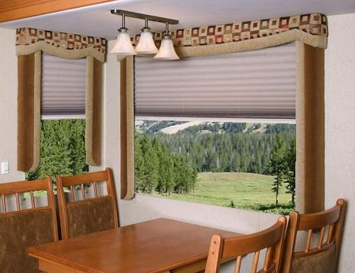Tan Light Filtering RV Pleated Shades