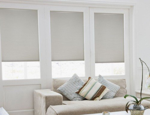 Silver Sunlera Cordless 3/8 inch Double Cell Shades