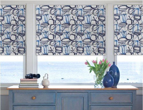Blue Striped Roman Shades