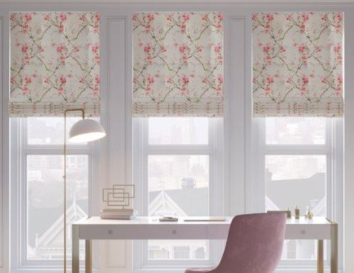 Tan Floral/Pattern Roman Shades