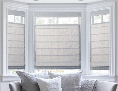 Blue Solid Print Roman Shades