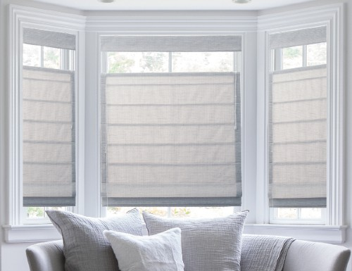 Red Solid Print Roman Shades