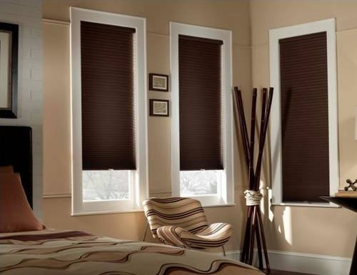 Chestnut Sunlera Cordless 3/8 inch Blackout Single Cell Shades
