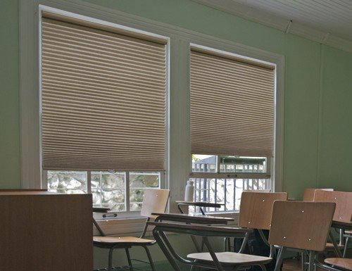 Tan Fire Retardant 9/16 inch Light Filtering Cell Shades