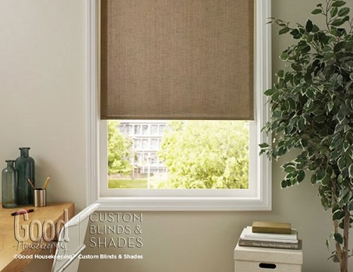 Tan Good Housekeeping Woven Light Filter Roller Shades