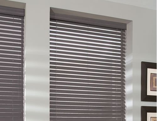 Cordless Designer 2 Quot Faux Wood Blinds In Grey Black Tan