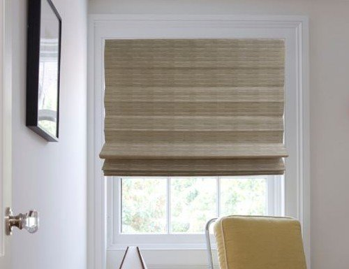 Cordless Natural Wicker Filtering Woven Shade