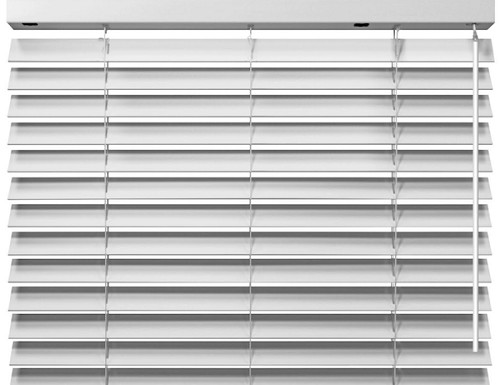 White Express 2 inch Lift and Lock Cordless Faux Wood Blinds