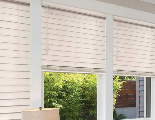 "Cordless Privacy 2 1/2"" Faux Wood Blinds"