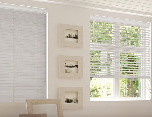Tan Cordless Privacy 2 inch Faux Wood Blinds